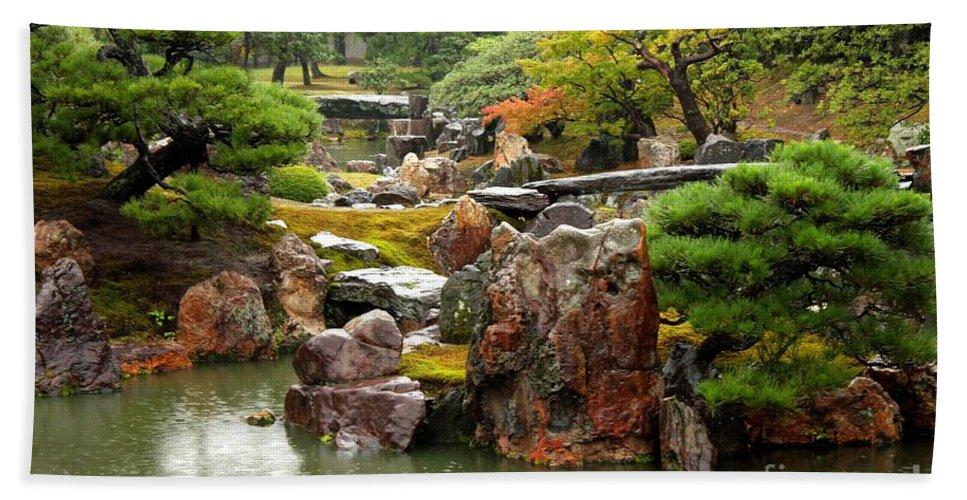 Japan Beach Towel featuring the photograph Rain On Kyoto Garden by Carol Groenen