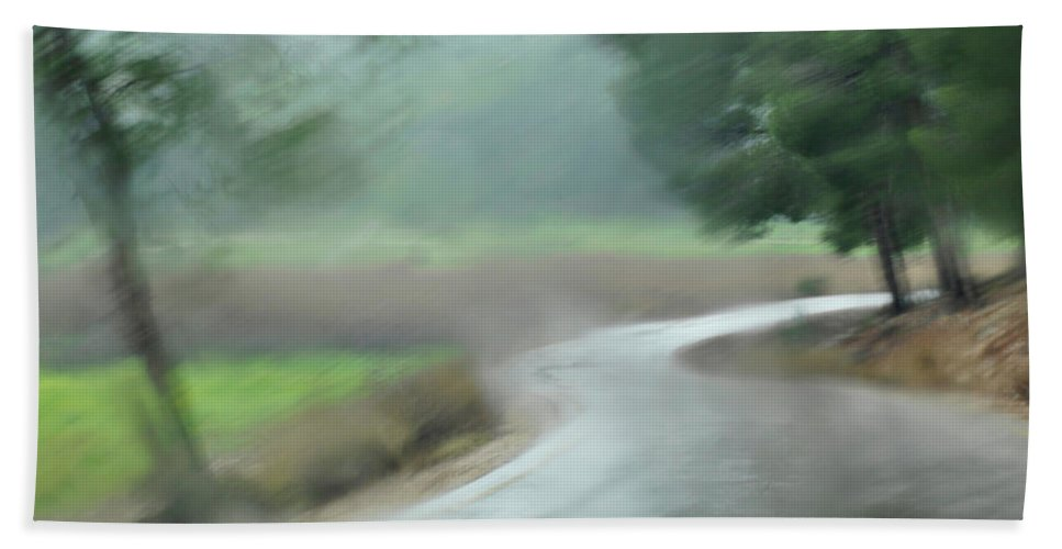 Impressionistic Beach Towel featuring the photograph Rain Over Lachish by Dubi Roman