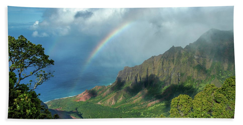 Landscape Beach Towel featuring the photograph Rainbow At Kalalau Valley by James Eddy