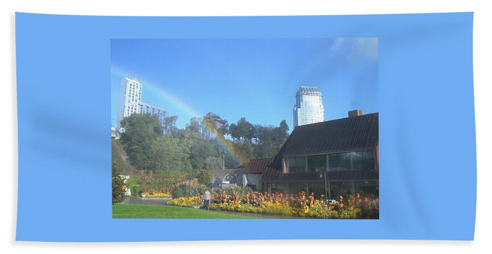 Rainbows Beach Towel featuring the photograph Rainbow At The Falls by Debbie Levene