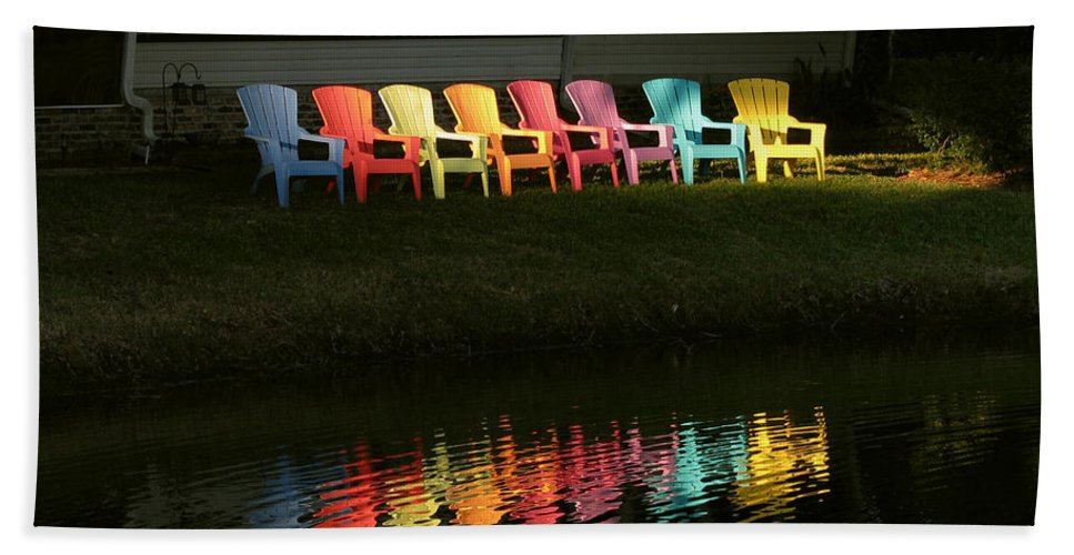 Lounge Beach Towel featuring the photograph Rainbow Chairs by Peg Urban