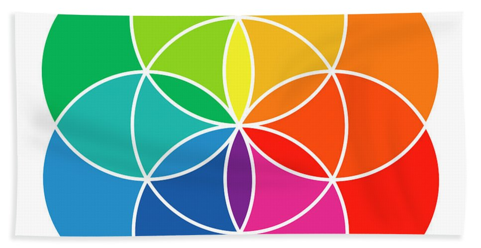 Rainbow Colored Seed Of Life And Color Wheel Beach Towel For Sale By