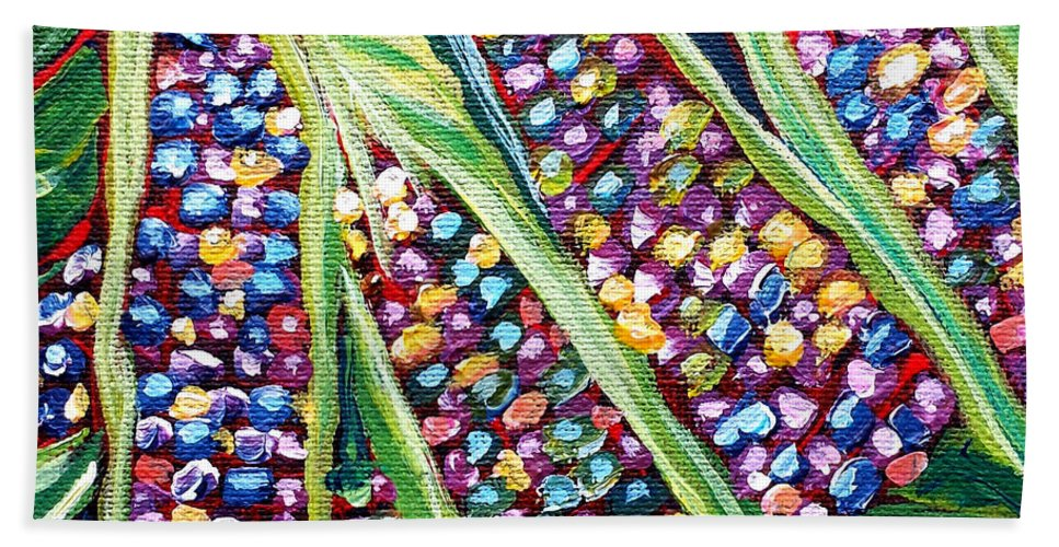 Rainbow Corn Beach Towel featuring the painting Rainbow Corn by Beth Lighthouse