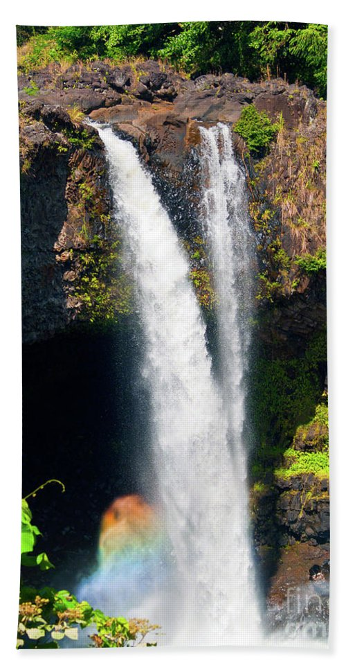 Waterfall Photography Beach Towel featuring the photograph Rainbow Falls I by Patricia Griffin Brett