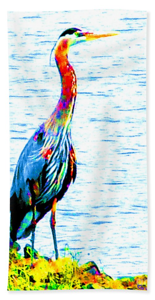 Rainbow Heron Beach Towel featuring the photograph Rainbow Heron by Nick Gustafson