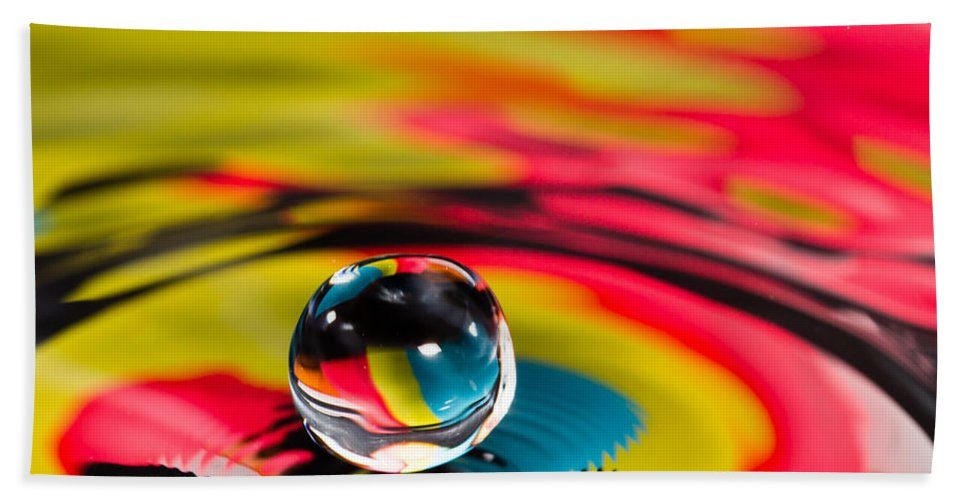 Abstract Beach Towel featuring the photograph Rainbow Marble Water Drop by SR Green