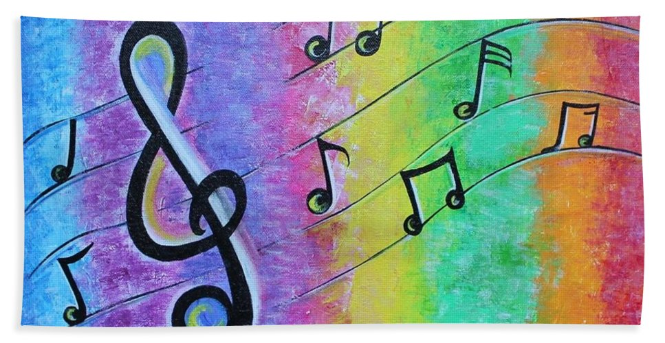 Rainbow Music Notes Beach Towel for Sale by Dhanashree Mahesh