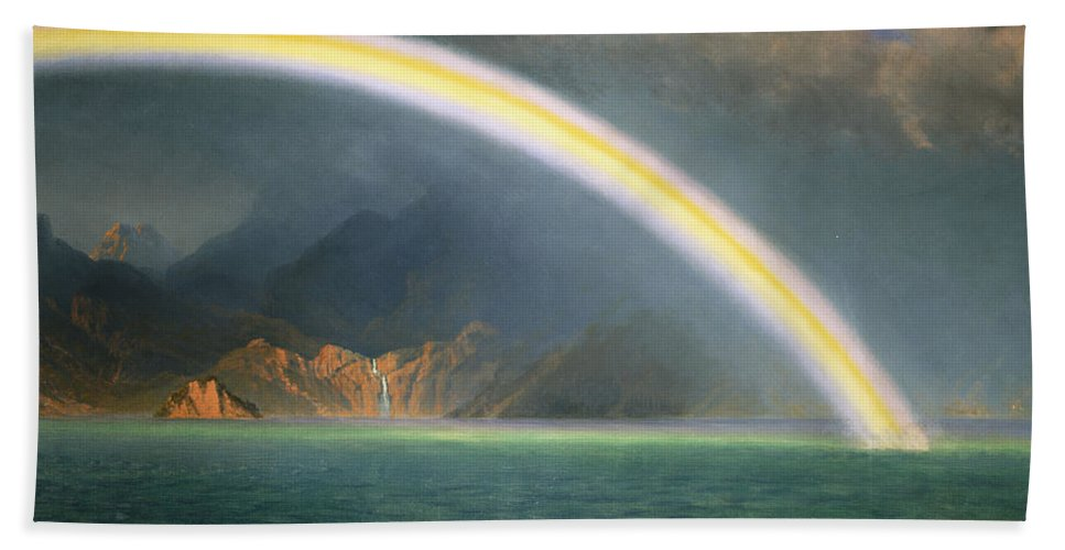 19th Century; Albert Bierstadt; American Artist; American Painting; Bright; Cloudy; Daytime; Dream; Dream Like; Dreaming; Dreamscape; Enchanted; Enchanting; Enchantment; Fairy Tale; Fairyland; Fanciful; Fantasy; Fantasy & Fiction; Fantastical; Hope; Hopeful; Hudson River School; Jenny Lake; Lake; Late 19th Century; Literature; Magical; Meteorology; Natural Space; North America; Oil On Canvas; Oil Painting; Outdoors; Rainbow; Romantic Art; Romantic Era; Romanticism; Sky; Spellbound Beach Towel featuring the painting Rainbow Over Jenny Lake Wyoming by Albert Bierstadt