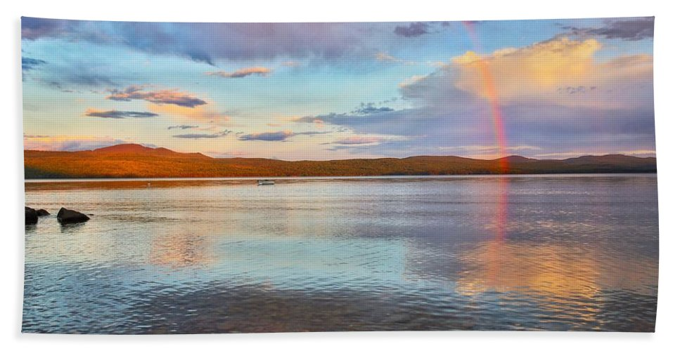 Rainbow Mountain Landscape Lake Pittsburgnh Beach Towel featuring the photograph Rainbow Over Magalloway by Nick Walker