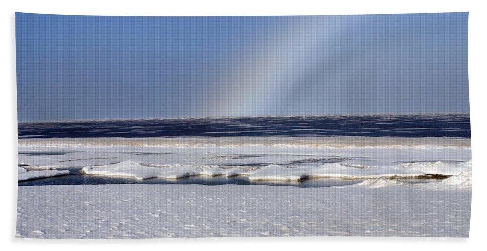 Rainbow Beach Towel featuring the photograph Rainbow Over The Arctic by Anthony Jones