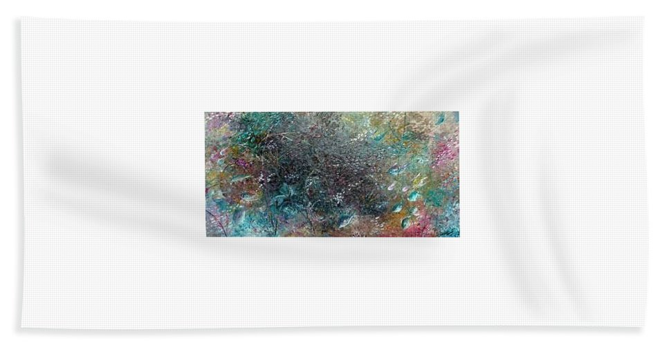 Original Abstract Painting Of Under The Sea Beach Towel featuring the painting Rainbow Reef by Karin Dawn Kelshall- Best
