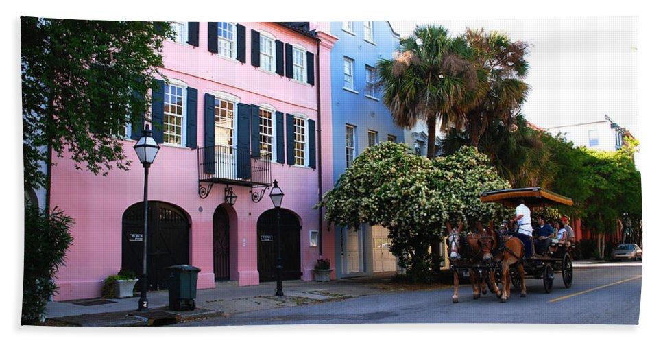 Charleston Beach Towel featuring the photograph Rainbow Row Charleston by Susanne Van Hulst