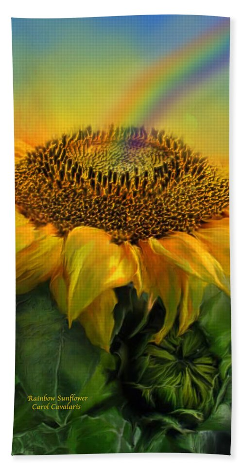 Sunflower Beach Towel featuring the mixed media Rainbow Sunflower by Carol Cavalaris