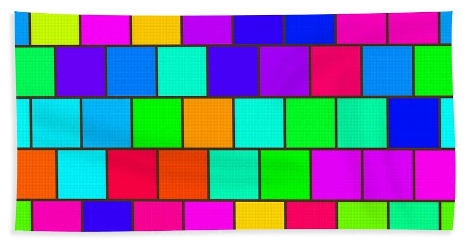 Abstract Beach Towel featuring the digital art Rainbow Tiles by Miroslav Nemecek