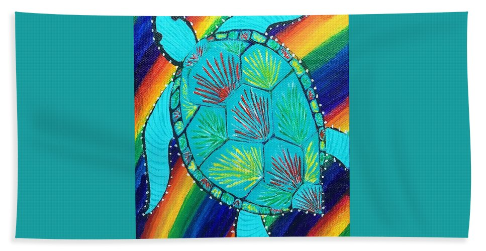 Rainbow Beach Towel featuring the painting Rainbow Turtle by Sue Gurland