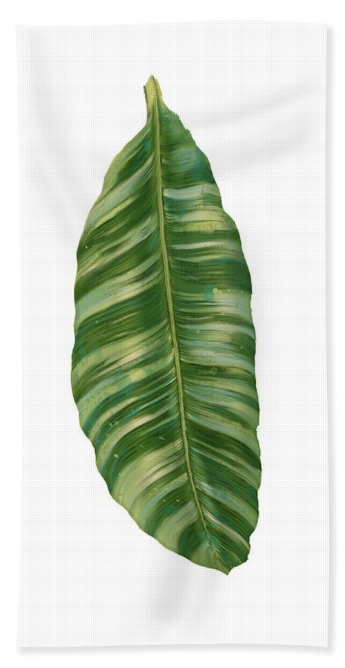 Tropical Beach Towel featuring the painting Rainforest Resort - Tropical Banana Leaf by Audrey Jeanne Roberts