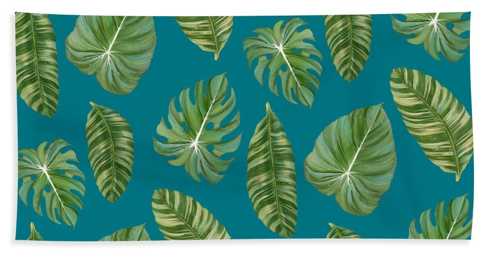 Tropical Beach Towel featuring the painting Rainforest Resort - Tropical Leaves Elephant's Ear Philodendron Banana Leaf by Audrey Jeanne Roberts