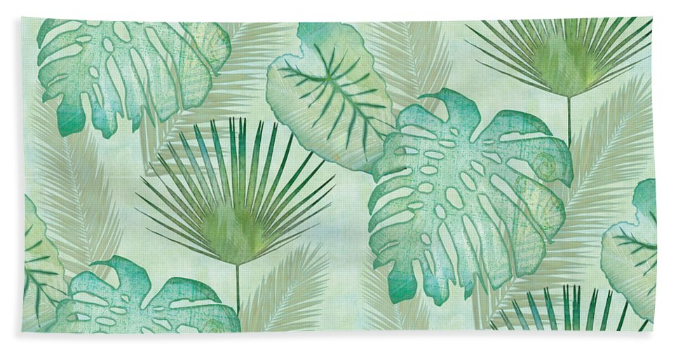 Rain Beach Towel featuring the painting Rainforest Tropical - Elephant Ear and Fan Palm Leaves Repeat Pattern by Audrey Jeanne Roberts