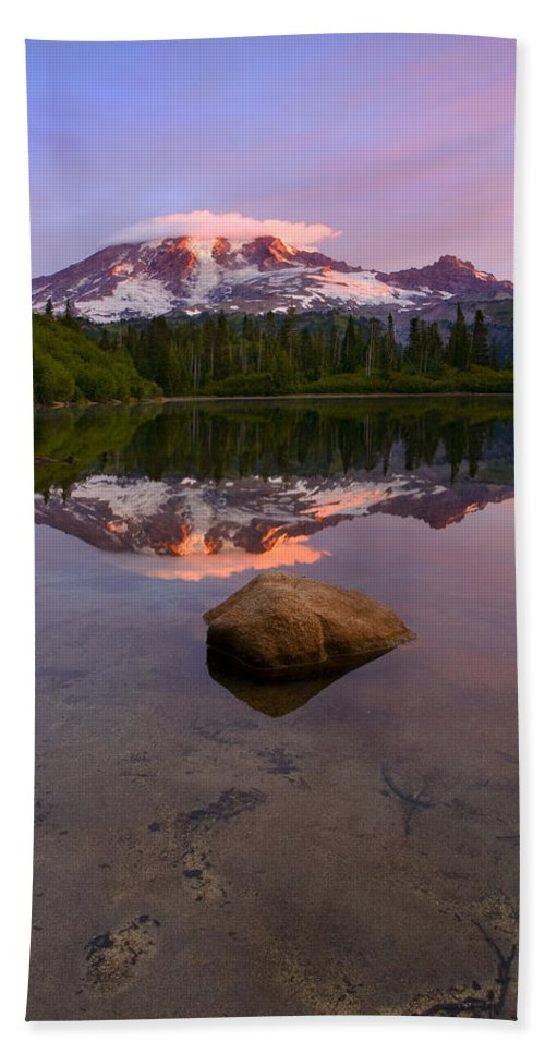 Mt. Rainier Beach Sheet featuring the photograph Rainier Dawn Breaking by Mike Dawson
