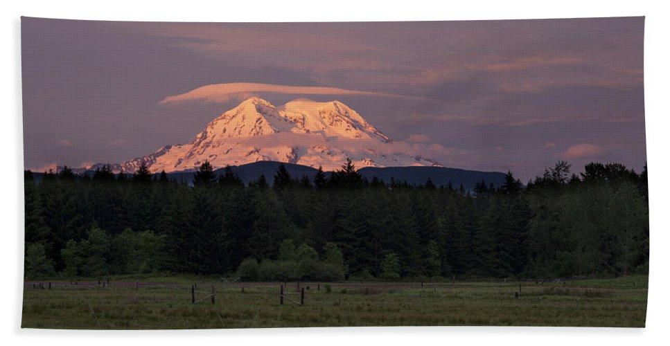 Mount Rainier Beach Towel featuring the photograph Rainier Dusk by Mike Reid