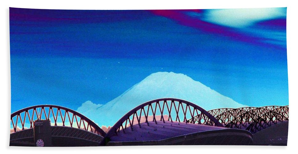 Seattle Beach Towel featuring the photograph Rainier Over Sodo by Tim Allen