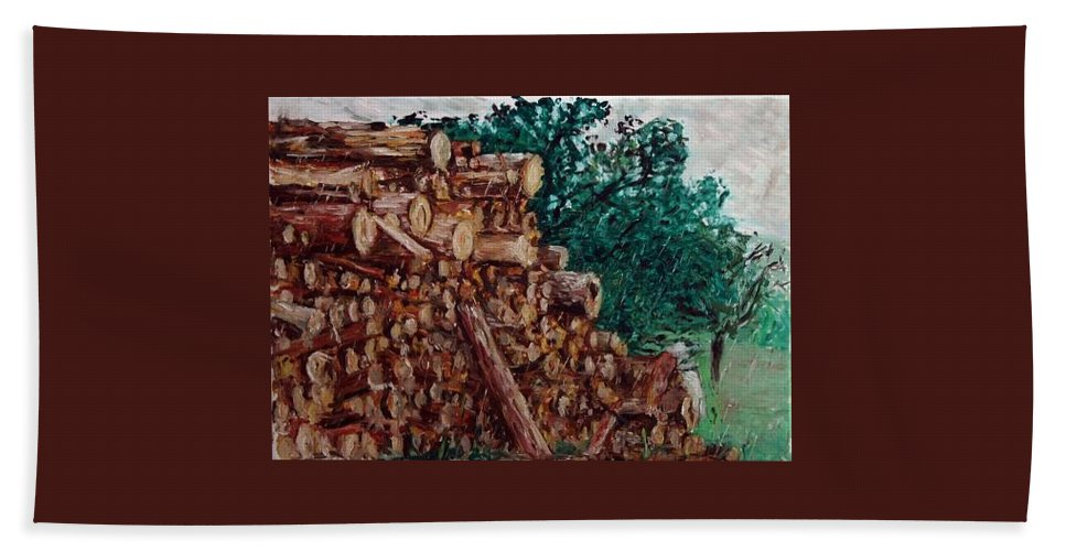Landscape Beach Towel featuring the painting Raining Day - Woods by Pablo de Choros