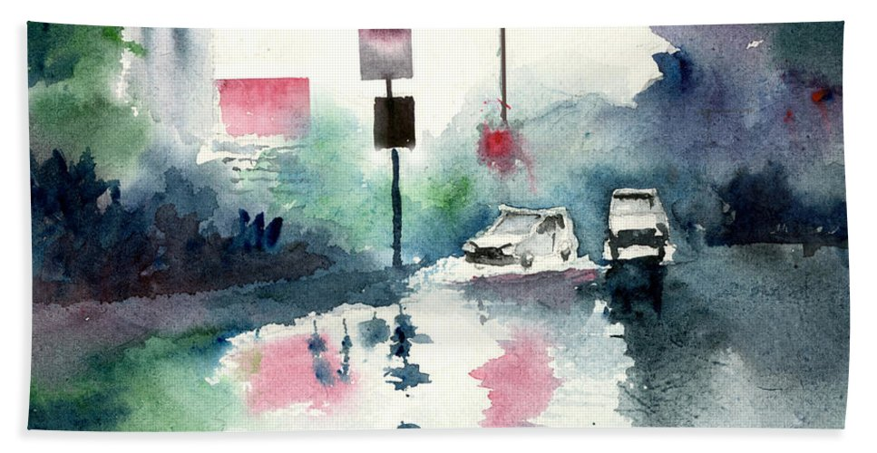 Nature Beach Towel featuring the painting Rainy Day by Anil Nene