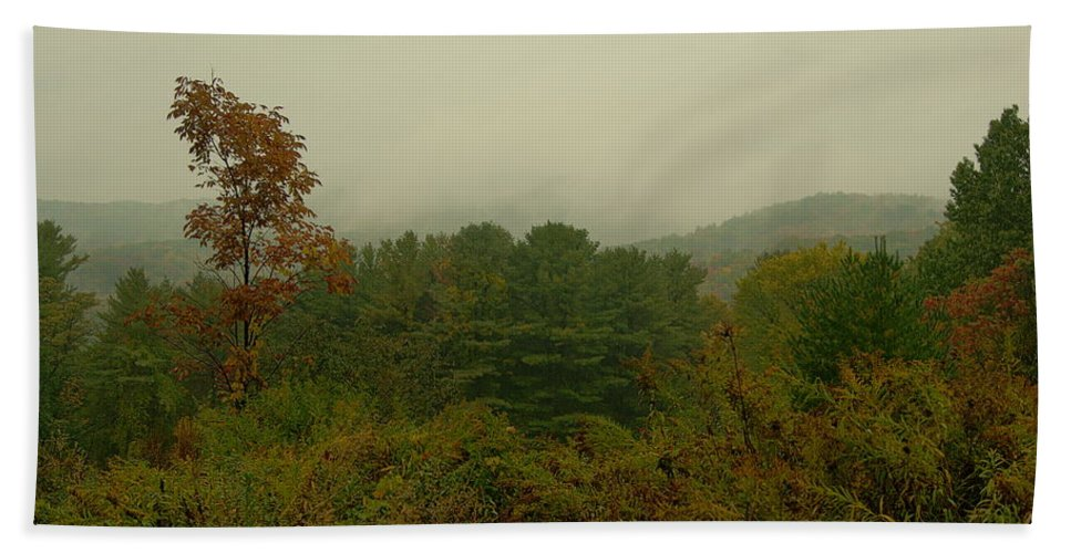 Landscape Beach Towel featuring the photograph Rainy Day In White Creek by Theodore Rice