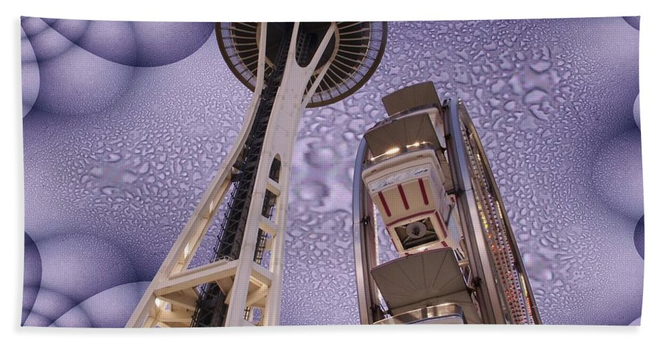 Seattle Beach Towel featuring the digital art Rainy Needle by Tim Allen