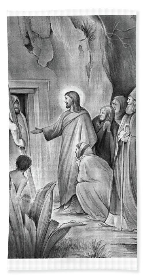 Lazarus Beach Towel featuring the drawing Raising Lazarus by Greg Joens