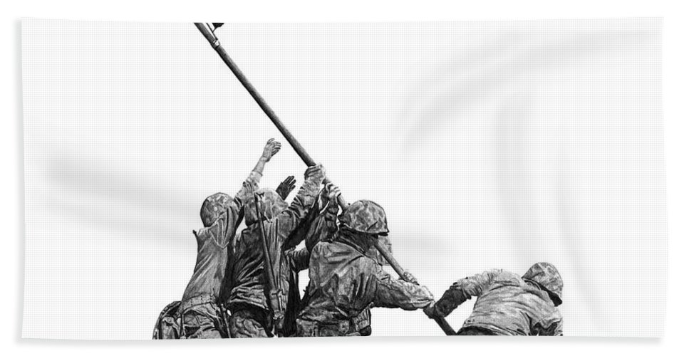 Iwo Jima Beach Towel featuring the drawing Raising The Flag by Bobby Shaw
