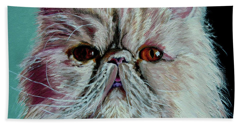 Cat Portrait Beach Towel featuring the painting Ralph by Stan Hamilton