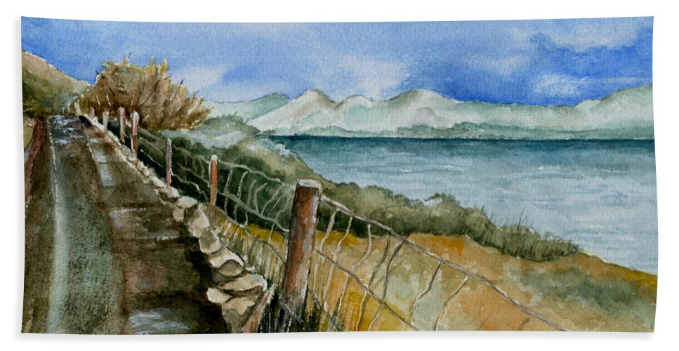 Watercolor Beach Sheet featuring the painting Rambling Walk by Brenda Owen