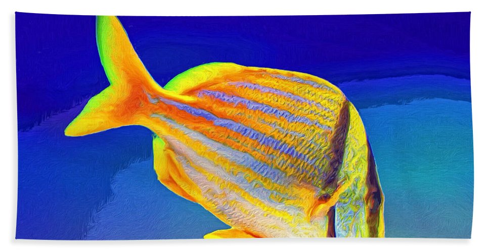 Fish Beach Towel featuring the painting Ramone by Dominic Piperata