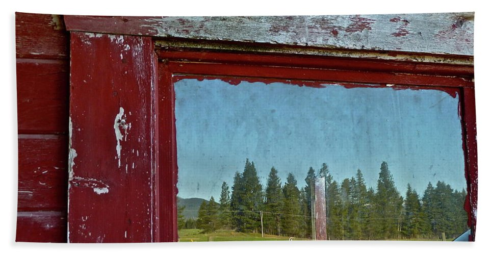 Barn Beach Towel featuring the photograph Ranch Reflection by Diana Hatcher