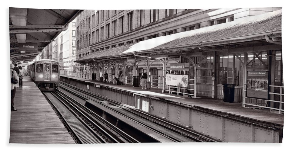 Cta Beach Towel featuring the photograph Randolph Street Station Chicago by Steve Gadomski