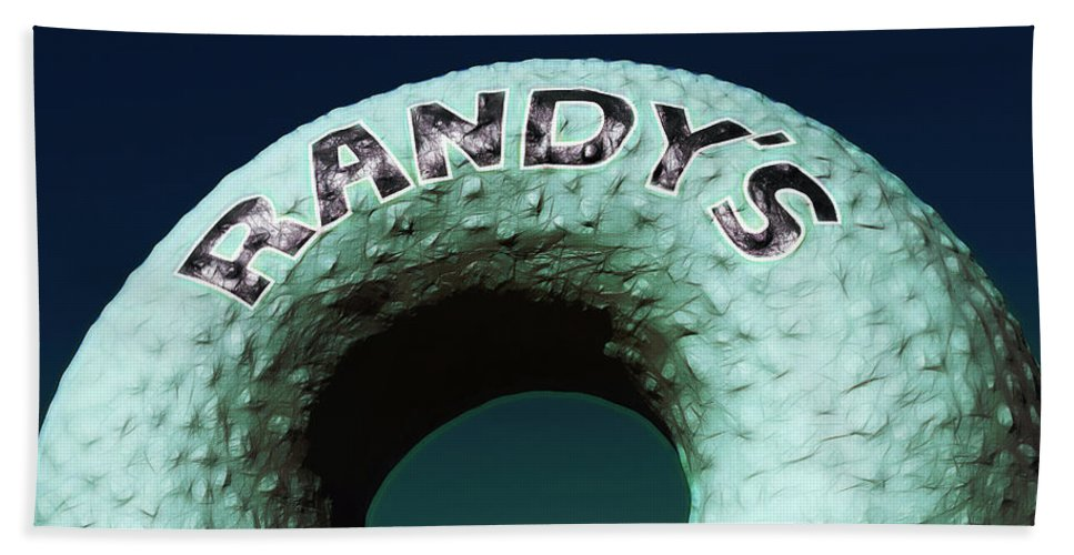 Randy's Donuts Beach Towel featuring the photograph Randy's Donuts - 12 by Stephen Stookey