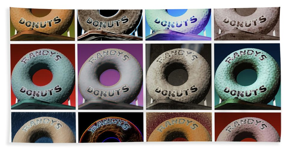 Randy's Donuts Beach Towel featuring the photograph Randy's Donuts - Dozen Assorted by Stephen Stookey