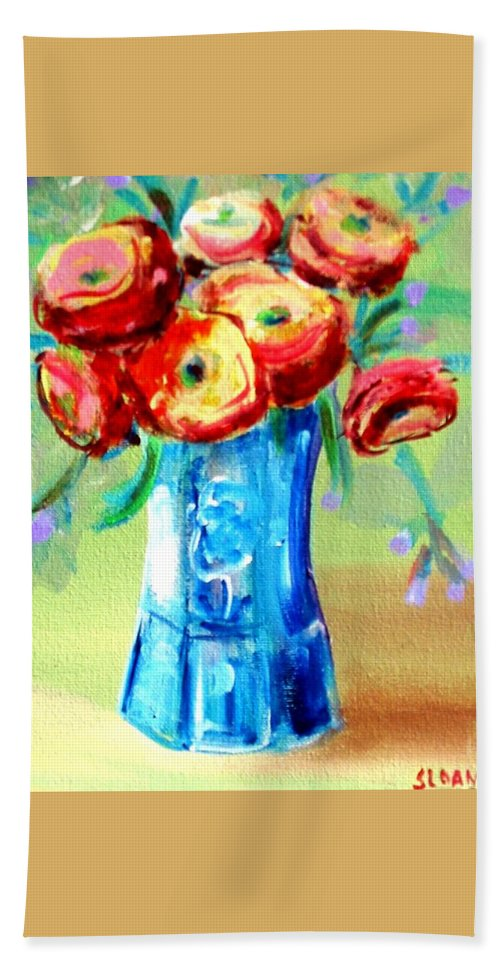 Rannuculus Beach Towel featuring the painting Rannunculus by Karen Sloan