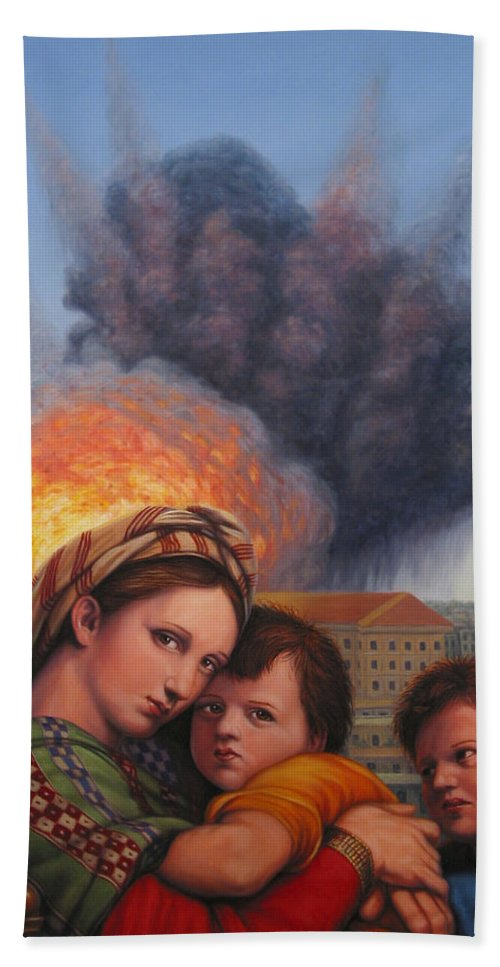 Madonna And Child Beach Towel featuring the painting Raphael Moderne by James W Johnson