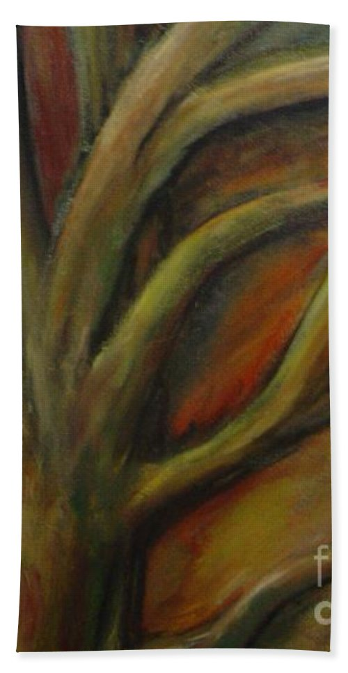 Tree Abstract Painting Expressionist Original Leila Atkinson Beach Towel featuring the painting Rapt by Leila Atkinson