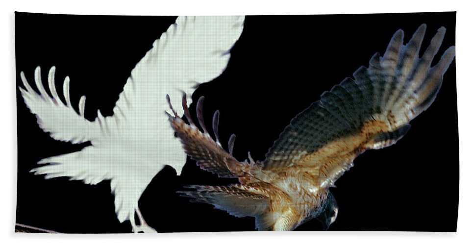 Bird Beach Towel featuring the digital art Raptor And His Soul by DigiArt Diaries by Vicky B Fuller