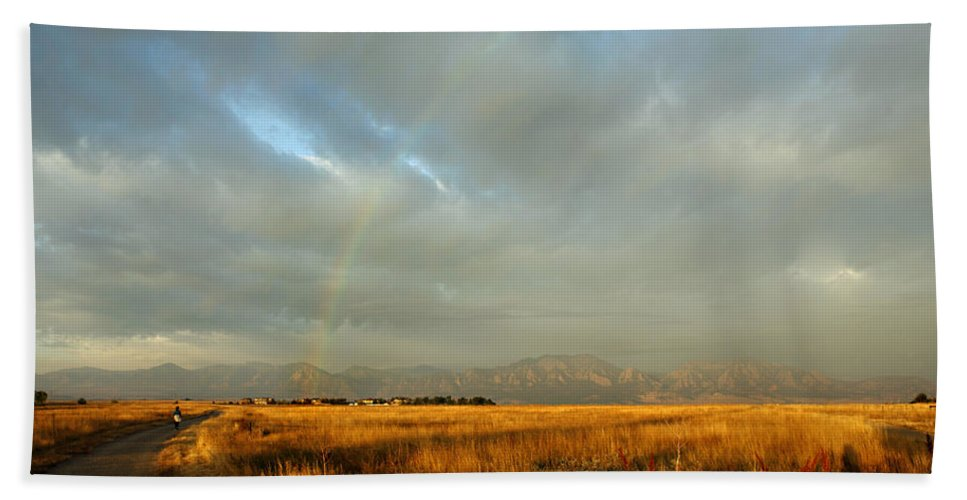 Rain Beach Towel featuring the photograph rare Morning Rainbow by Marilyn Hunt