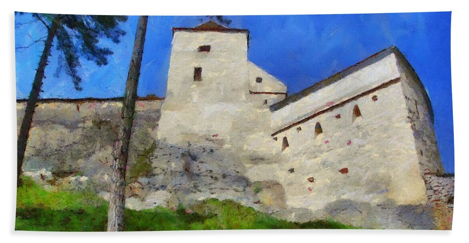 Fortress Beach Towel featuring the painting Rasnov Fortress by Jeffrey Kolker