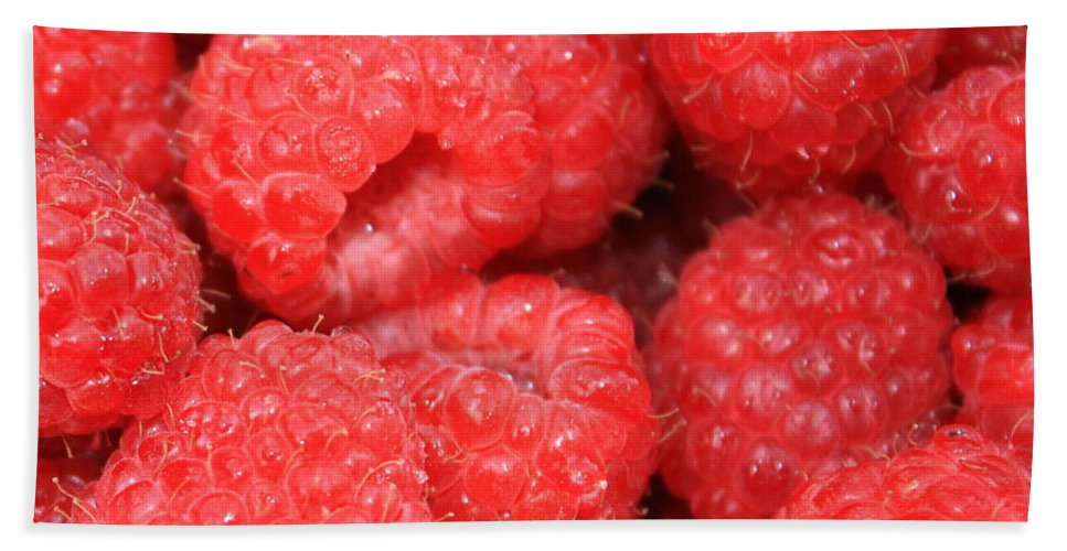 Food Beach Towel featuring the photograph Raspberries Close-up by Carol Groenen