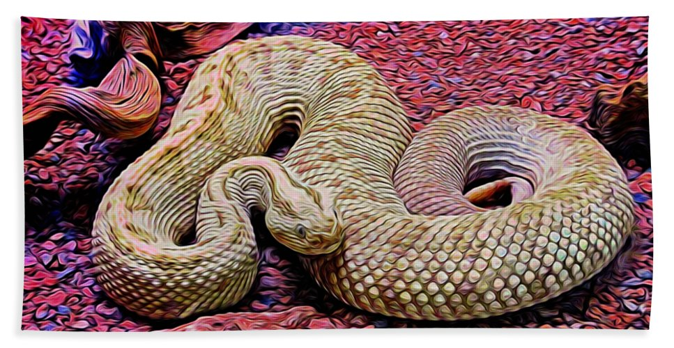 Rattlesnake Beach Towel featuring the photograph Rattlesnake In Abstract by Kristalin Davis
