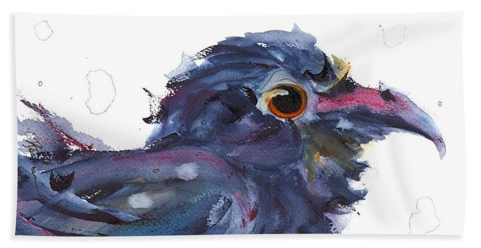 Raven Beach Towel featuring the painting Raven 3 by Dawn Derman