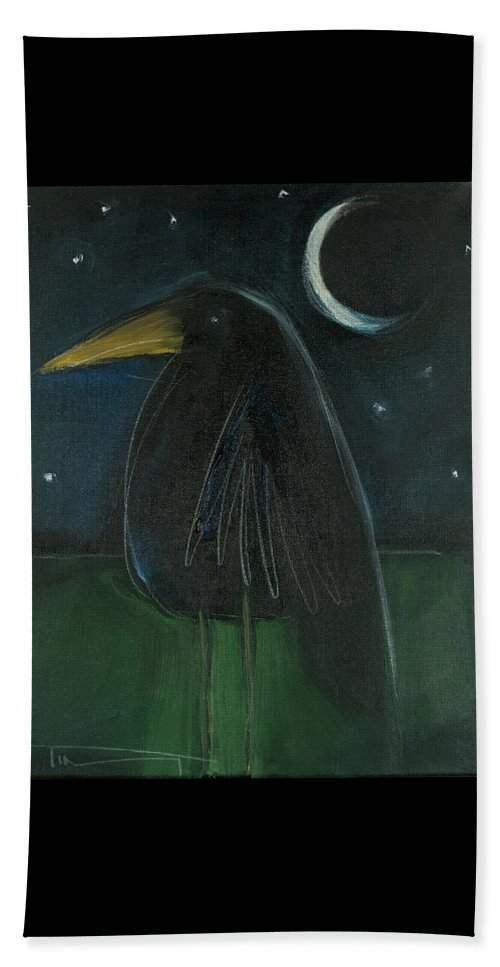 Raven Beach Towel featuring the painting Raven By Moonlight No. 2 by Tim Nyberg