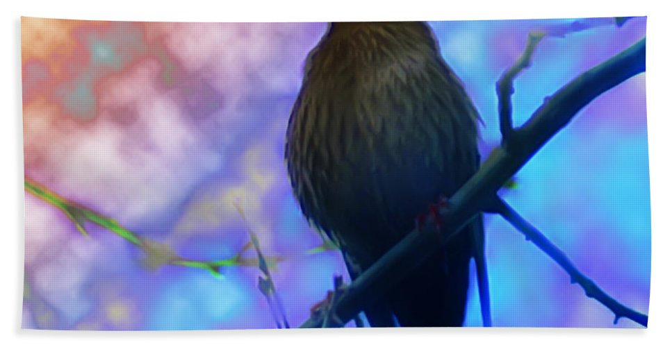 Bird Beach Towel featuring the photograph Raven In Spring by Bill Cannon