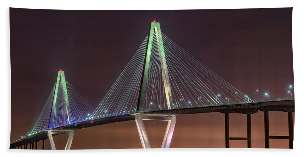 Ravenel Bridge Beach Towel featuring the photograph Ravenel Bridge Twilight by Rick Berk